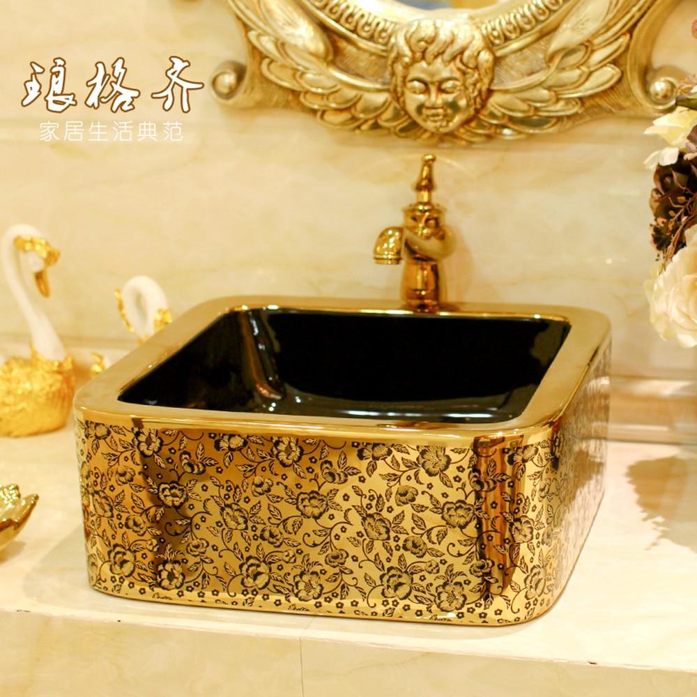 A1 Ceramic bathroom vanity square washbasin washbasin art bonsai pot gold LO618201A1 Ceramic bathroom vanity square washbasin washbasin art bonsai pot gold LO618201