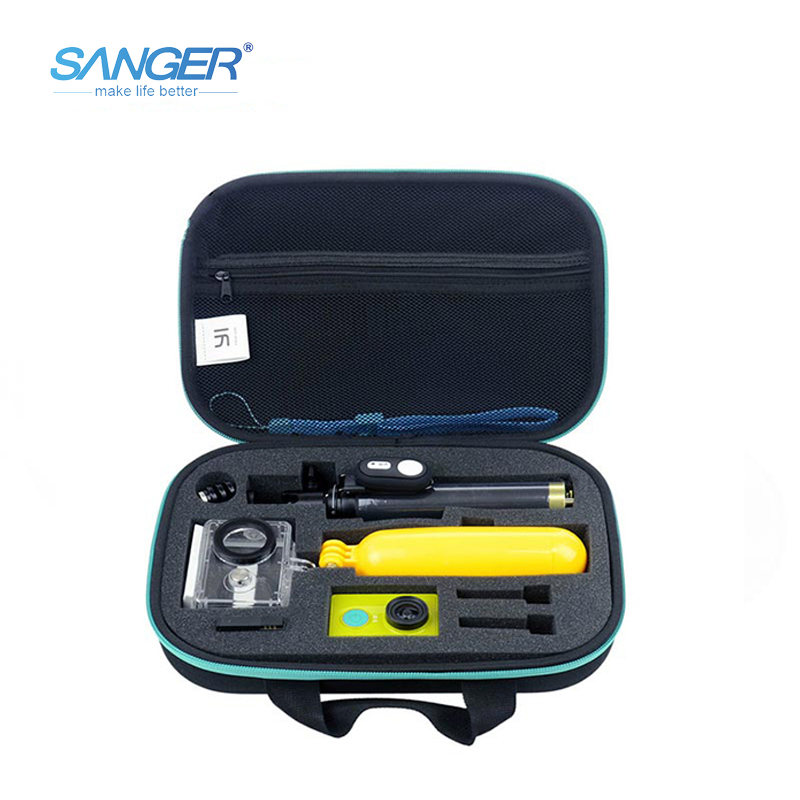 цена на SANGER for Yi Accessories Set Waterproof Case Bag Bluetooth Selfie stick Monopod Bluetooth Remote For Xiaomi Yi Action Camera