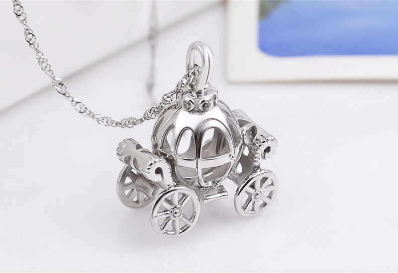 Solid 925 Sterling Silver Charm Hollow pumpkin car design Necklace for kids Fairy Tale Cinderella Carriage pendant Best gift (5)