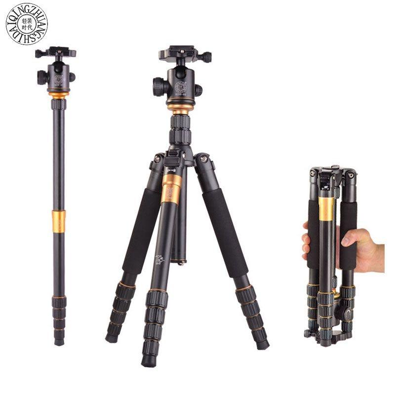QZSD Q-666 Professional Magnesium Digital Aluminium Tripod & Monopod Q666 Portable Pro & Ball Head for canon Nika DSLR Camera штатив 2015 q666 q 666 qzsd 02 15 q 666