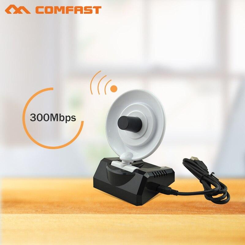 comfast 300Mbps 20dBm high power Wireless USB WiFi Wi Fi Wi-Fi Adapter With10dBi Radar Antenna WiFi Signal Transmitter Receiver