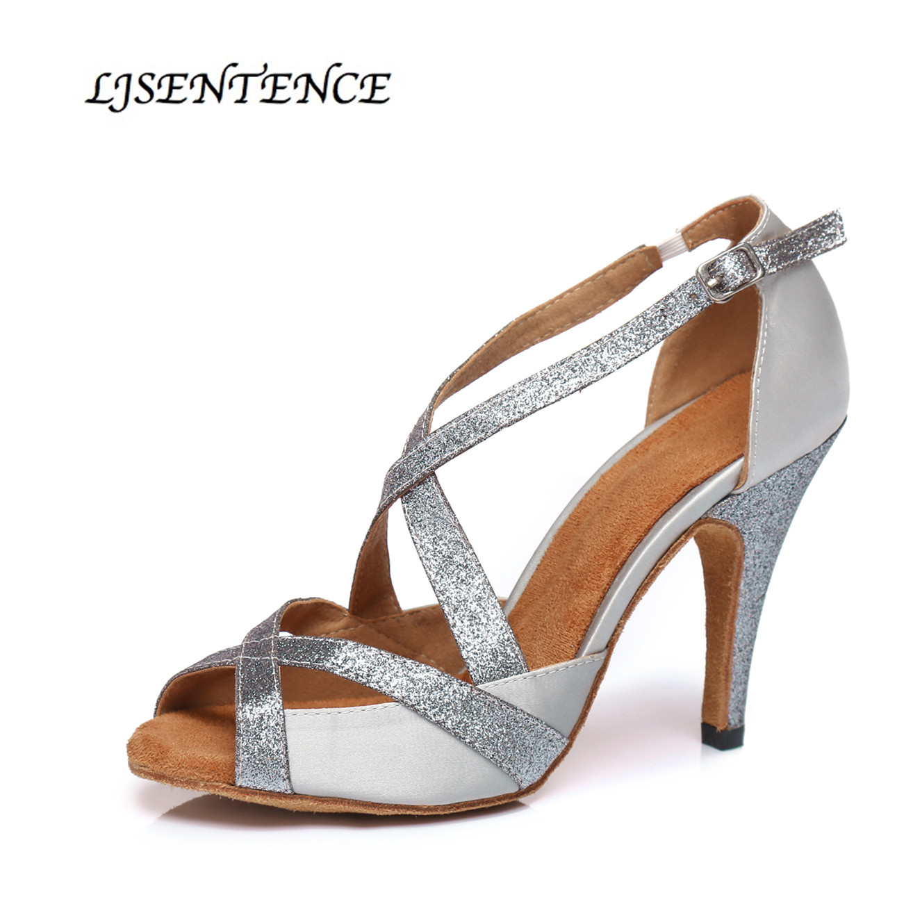 Silver latino shoes for Women Dancing Flash Cloth Collocation jazz Latin Dance Shoes Summer Sandals Dancing high heel sneakers