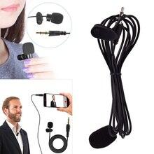 Портативный мини микрофон 1,5 м, петличный микрофон с зажимом на лацкане, проводной микрофон/микрофон для телефона, ноутбука