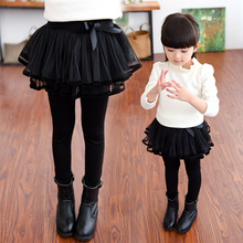 Children's wear girls leggings spring and autumn children's trousers baby fake two pieces mesh skirt 2-12 years недорого