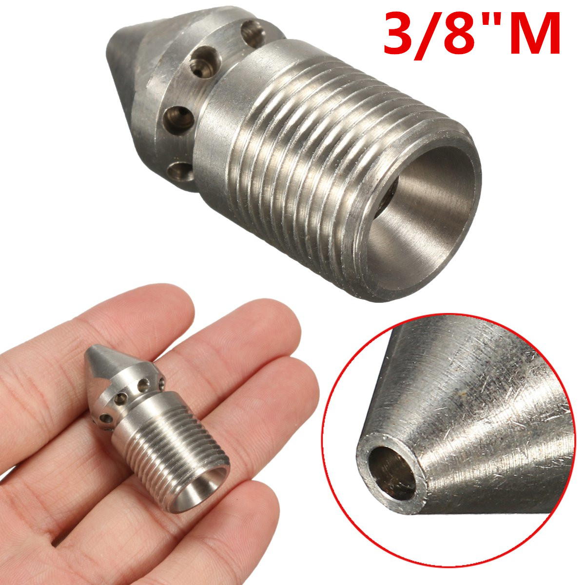Pressure Washer Drain / Sewer Cleaning Jetter Nozzle 9 Jet 3/8