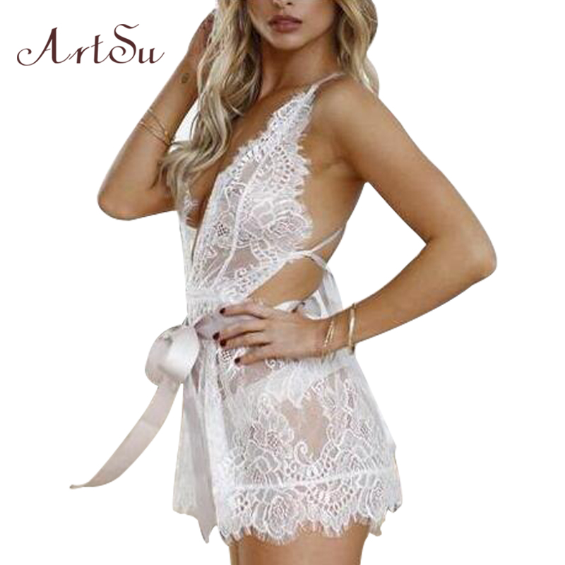 ArtSu Summer Womens Playsuits 2018 White Lace Strap V Neck Sexy Sleeveless Jumpsuit One Piece Rompers Playsuits ASJU30413