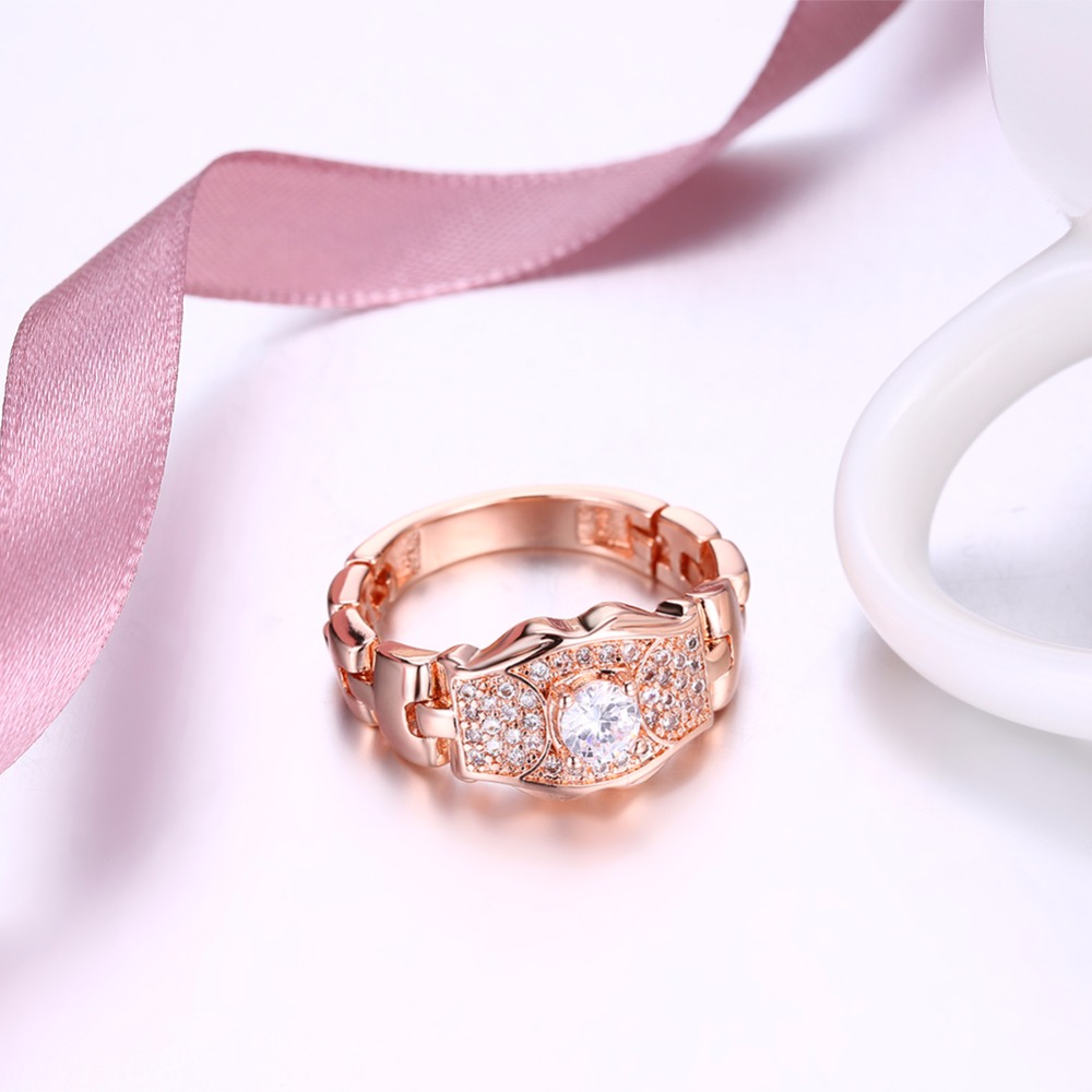 Watch Chain Band Rings for party Rose Gold color Crystal Cubic ...