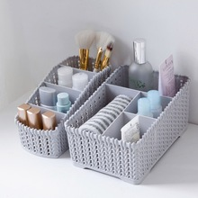 Imitation Rattan Desktop Storage Basket Office Debris Box Make Up Organizer Dressing Table Cosmetics
