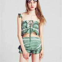 Mujer pijama de seda establece color verde dulce con encaje sexy volantes breve lindo verano exclusivo de calidad superior para las señoras
