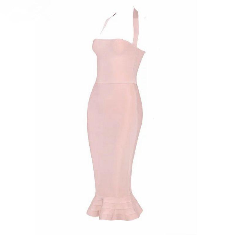 2016 Nu Dos Kaki De Bandage Mi veau Tricot Party Dress Rouge Vin Halter Femmes Sexy Luxe L'épaule Red wine Gaine Soirée Kaki Nouveau xXrrYzqw