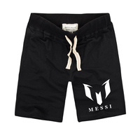 Summer High Quality Men Brand 100 Cotton Barcelona MESSI Printed Soccer Shorts Casual Sport Beach Surf