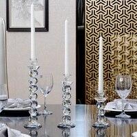 Crystal Glass Candleholder Romantic Wedding Table Candleholder Desktop Arrangements Crystal Candelabra Centerpiece for Wedding