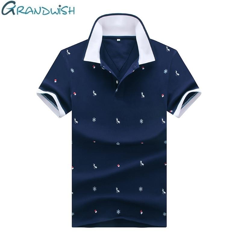 Grandwish Ant Print   Polo   Shirts Men Plus Size M-4XL Summer   Polos   Men Cotton Blends 2018 New Printing   Polos   Male Slim Fit ,DA663