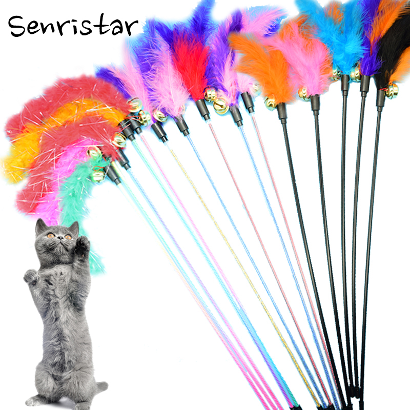 1pcs/lot Plush Feather Bell Rod Toy for Cat Wholesale Teaser Multi Soft Colorful Kitten Funny Playing Interactive  Pet Toys