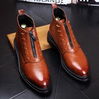 Mens Pointy Toe Leather Casual Chelsea Retro Ankle Boots Formal Shoe Zippers New E14