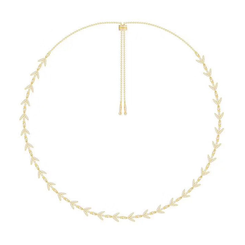 SLJELY Women Luxury Brand 925 Sterling Silver Yellow Gold Color Laurel Leaves Choker Necklace Micro Pave