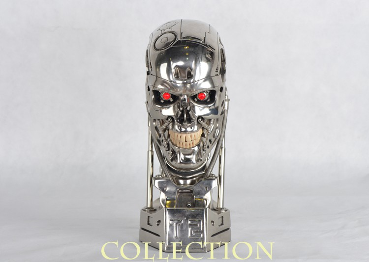 NEW 1:1 Terminator T800 T2 Skull Endoskeleton Lift-Size Bust Figure Resin Replica LED EYE  High Quality neca the terminator 2 action figure t 800 endoskeleton classic figure toy 718cm 7styles