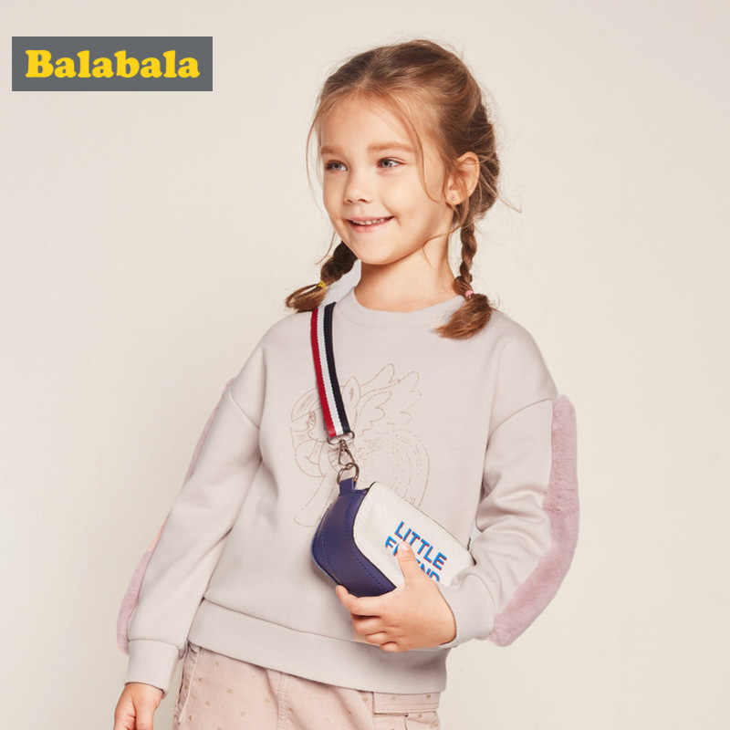 Balabala Girls Fleece-Lined Sweatshirt with Motif Faux Fur at Sleeve Dropped Shoulder Pull-over Sweatshirt Ribbed Cuffs and Hem