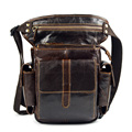 100% genuine leather leg bag for men casual business shoulder bags waist pack male cowhide fanny packs cross body messenger bag