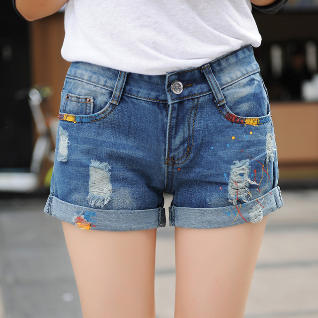 2016 New paint Hole personalized denim shorts Lady Jean Shorts hole BF Style Blue Plus size Ripped Women Slim Short Z1948