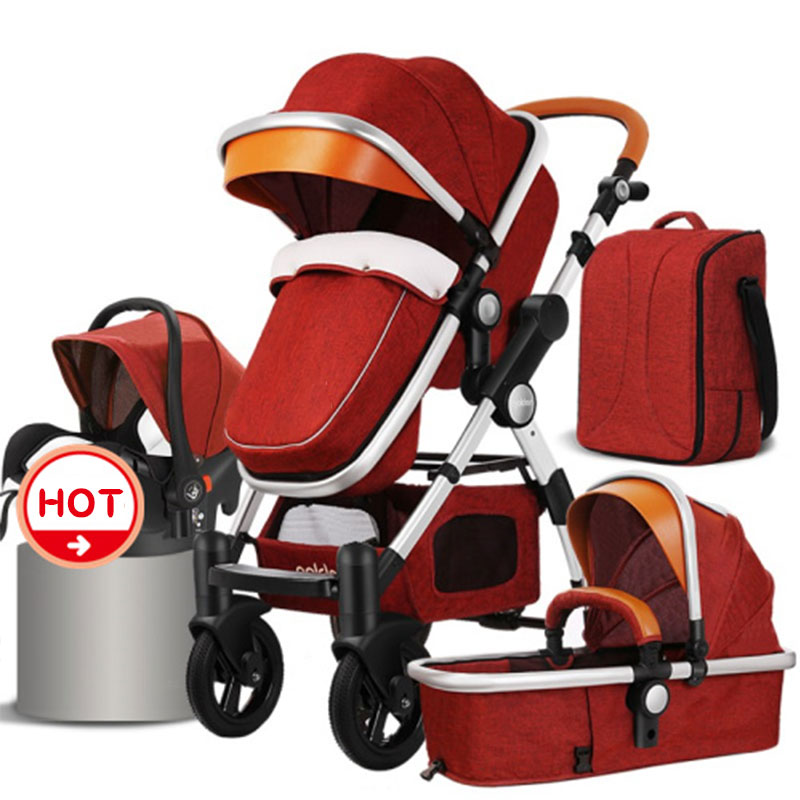HJBB 4 in 1 Gold Baby Stroller Can Sit High Landscape Lying Cart For Winter And Summer Infant Children