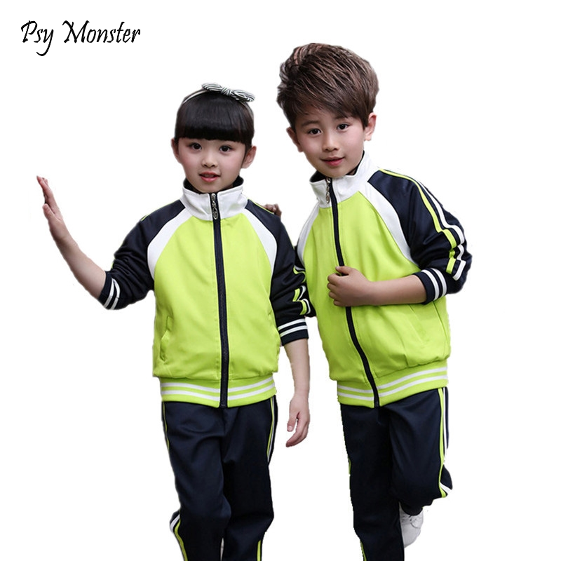 Boys Girls School Uniform Jackets Windbreaker Jacket + Pants Children sports Game Suit Coat Kids Tracksuit clothes For 2-12T A54 xiyu brand boys clothing set autumn tracksuit kids clothes for children sports suit for boys girls children s winter suit print