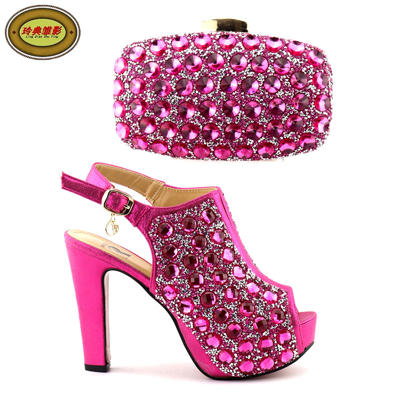 A825 High Quality Latest Rhinestone Italian Shoes With Matching Bags Nice Looking African Women Shoes and Bags Set new arrival design italian shoes with matching bags set nice quality african shoes and bag sets with rhinestones hlu1 17