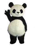 Crazy Sale Long Hair Panda Bear Animal Cosplay Adult Size Mascot Costumes Fancy Party Dress Suit