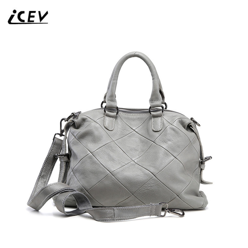 ICEV New Simple High Quality Cowhide Ladies Top Handle Bags Handbags Women Famous Brands Genuine Leather Handbags Ladies Totes icev new brands simple classic female cow leather designer handbags high quality genuine leather handbags women leather handbags