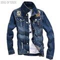 Hip hop outerwear elegante 2017 marca designer de homens jaqueta jeans slim fit mens jaquetas e casacos jaqueta jeans masculina clothing