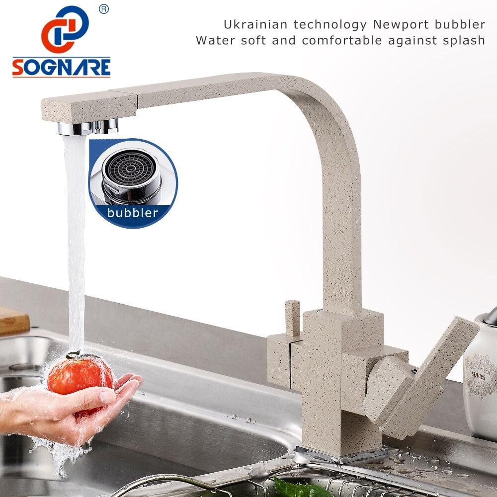 SOGNARE mosiężny kran kuchenny z filtrowana woda marmurowy mikser kuchenny do zlewozmywaków krany zimne gorące obrotowe kran wody pitnej