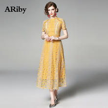 ARiby Dress Women Plus Size Elegant Dress 2019 Summer New Fashion Office Lady Lace Hollow Out O-Neck A-Line Slimming Solid Dress ladylike style solid color scoop neck lace long sleeves slimming burnt out dress for women