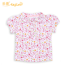LeJin Baby Girl Clothing 0-2 Years Girl Shirt Blouse Girls Shirt Tops Infant Clothes Wear with Flower in Summer