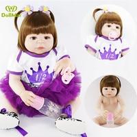 Bebes reborn realista DollMai brand dolls reborn 2255cm full vinyl silicone reborn baby girl princess dolls child xmas gift