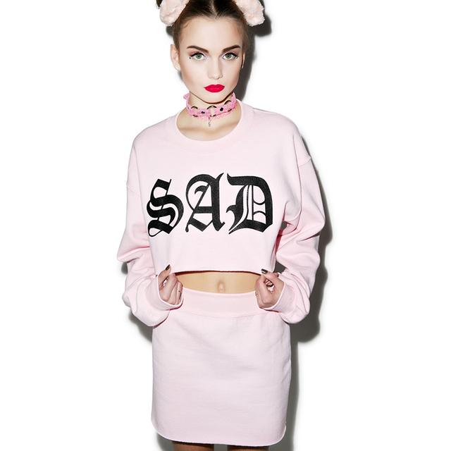 Venta caliente Nueva Moda Adolescente Chica Pink Triste Bebé Midriff Traje Lindo Traje Sweatershirt