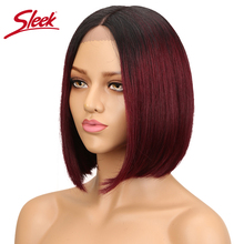 Sleek Brazilian Human Hair Wigs For Black Women Straight Lace Front Hu