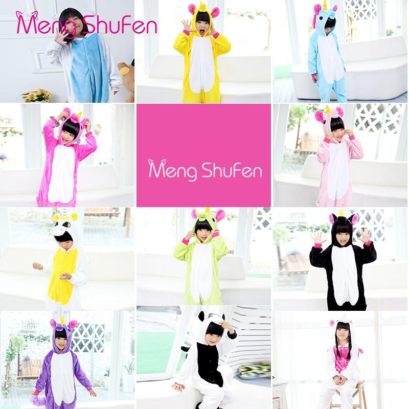 Baby Boys Girls Cartoon Unicorn pajamas Flannel Stitch Animal Kids Winter Pajamas Sets Onesie Children Clothing