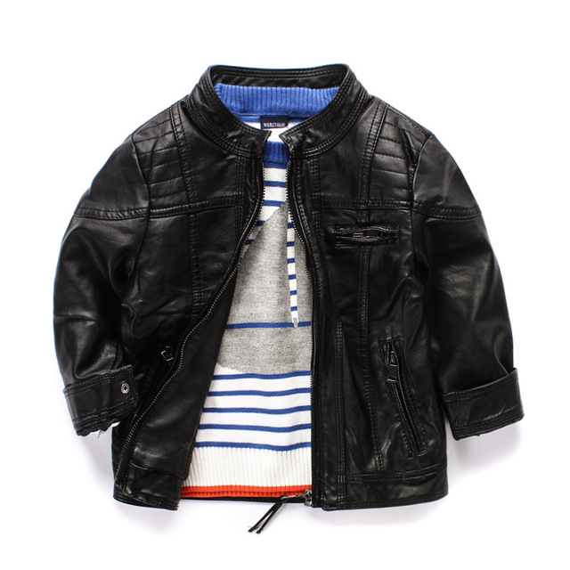 High Fashion Boys Leather Coat High End Faux Leather Kids Outwear ...