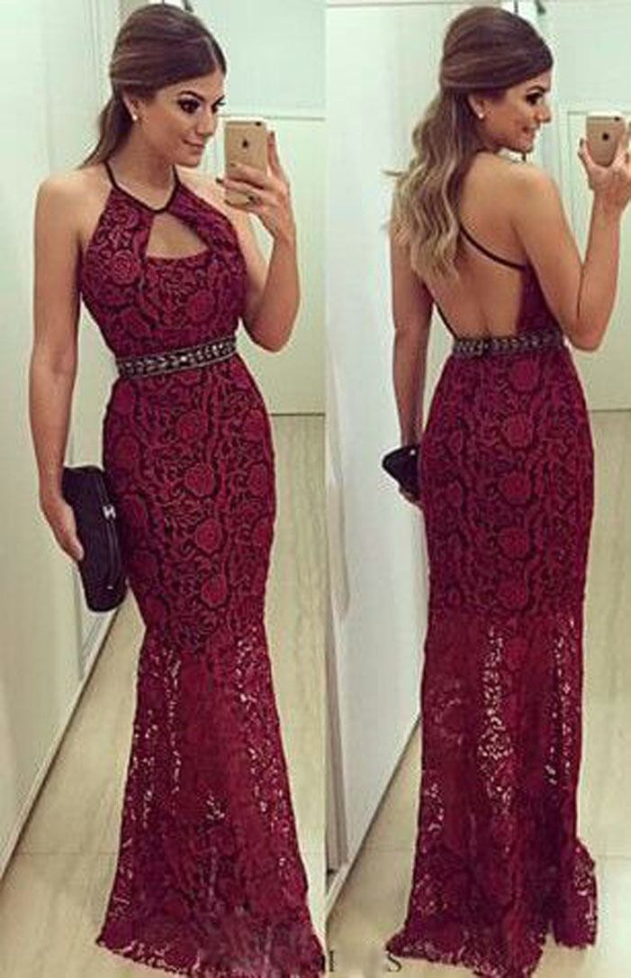 79da4b033e9 New Arrival Halter Nice Beaded Sexy Back Beautiful See Through Wine Red  Lace Long Mermaid Evening Dresses Formal Gown 2015-in Evening Dresses from  Weddings ...