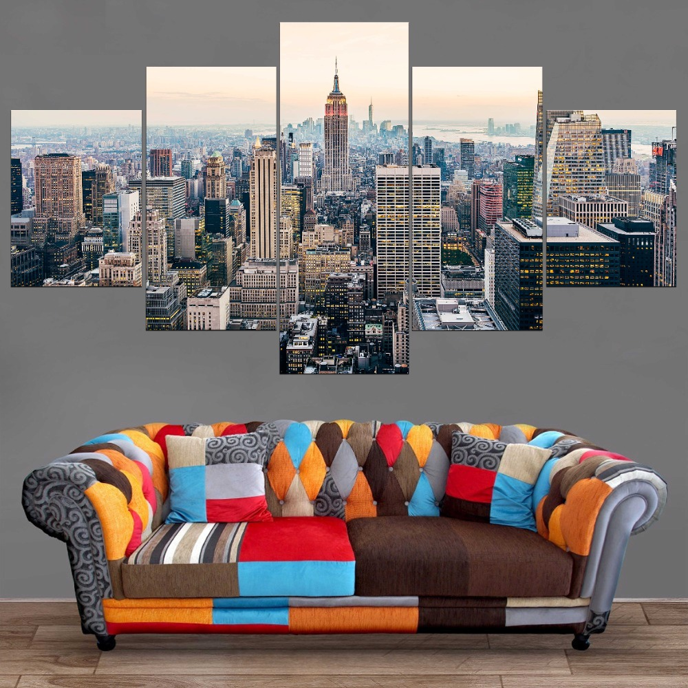 Home Decor Canvas Art Wall Art Picture Painting New York City Skyline 5 Piece