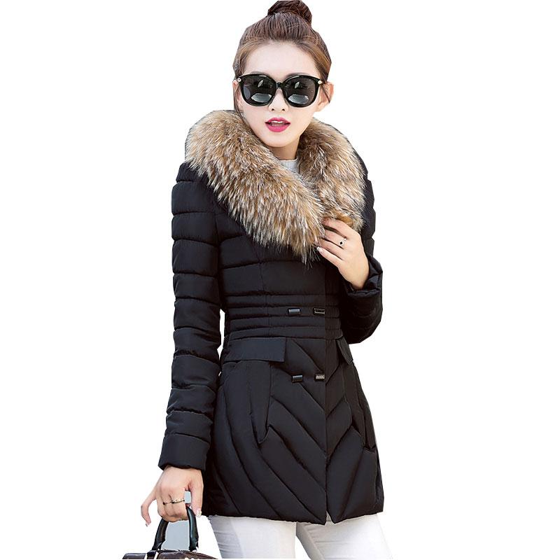 Хлопковая куртка-пуховик со съемным меховым воротником, зимняя женская куртка, парка, толстая, тонкая, 2017, большой размер, женская верхняя од...