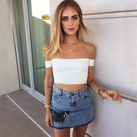 Off Shoulder White Knitted Cropped T Shirt Robe Women Vintage Slash Neck Elastic Tube T Shirt