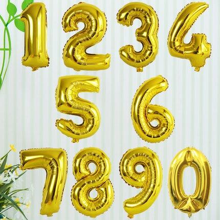 32inch Gold Silver Number foil balloons balon udara digital Happy - Barang-barang untuk cuti dan pihak - Foto 2