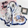 135*135 CM 100% de Seda Verdadeira Marca de Luxo Praça Scarf Sailing Boat Impresso Cachecóis Ladies Xailes Do Envoltório das Mulheres Hijab Foulard Femme S6