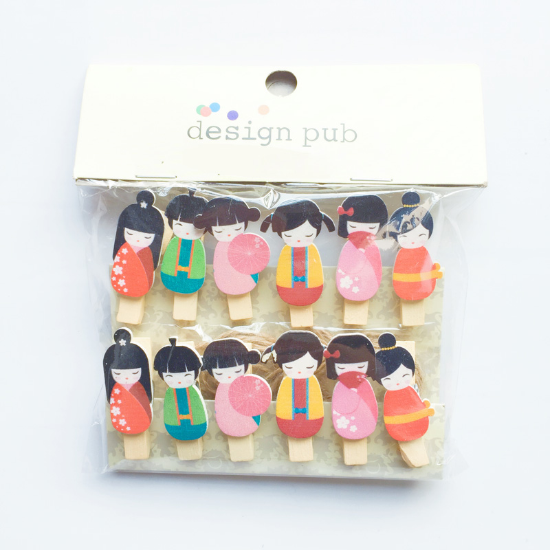 12 Pcs /Pack Kimono Japanese Girl Doll Wooden Paper Clip Bookmark For Album With Rope Message Stickers Stationery
