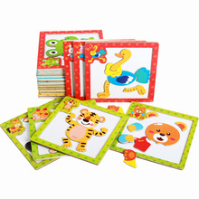 Cartoon Wooden Magnetic Jigsaw Puzzles Educational Developmental Toy For Kids Children 3D Magnetic Puzzle Wooden Educational Toy