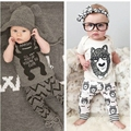 2016 New summer style Cotton little monsters short sleeve infant clothes 2 pcs baby clothing sets baby boy clothes
