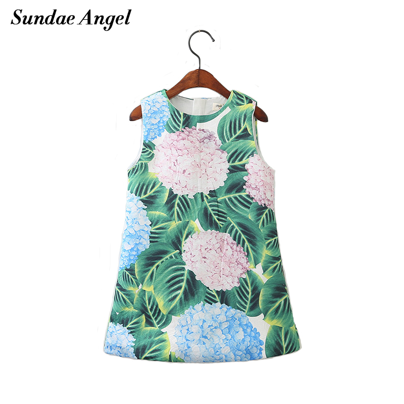 Sundea Angel Kids girl flower dress Round Neck Sleeveless Print Green Leaf Pattern Dress princess girls For Children's Clothes women s stylish bowknot decorated sleeveless pink round neck dress