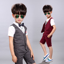 2 Pieces Blazer Summer Children Blazer Suits Children's Casual Clothing Boy Vest Kids Boys Shirt Cloth Wedding Formal Clothing