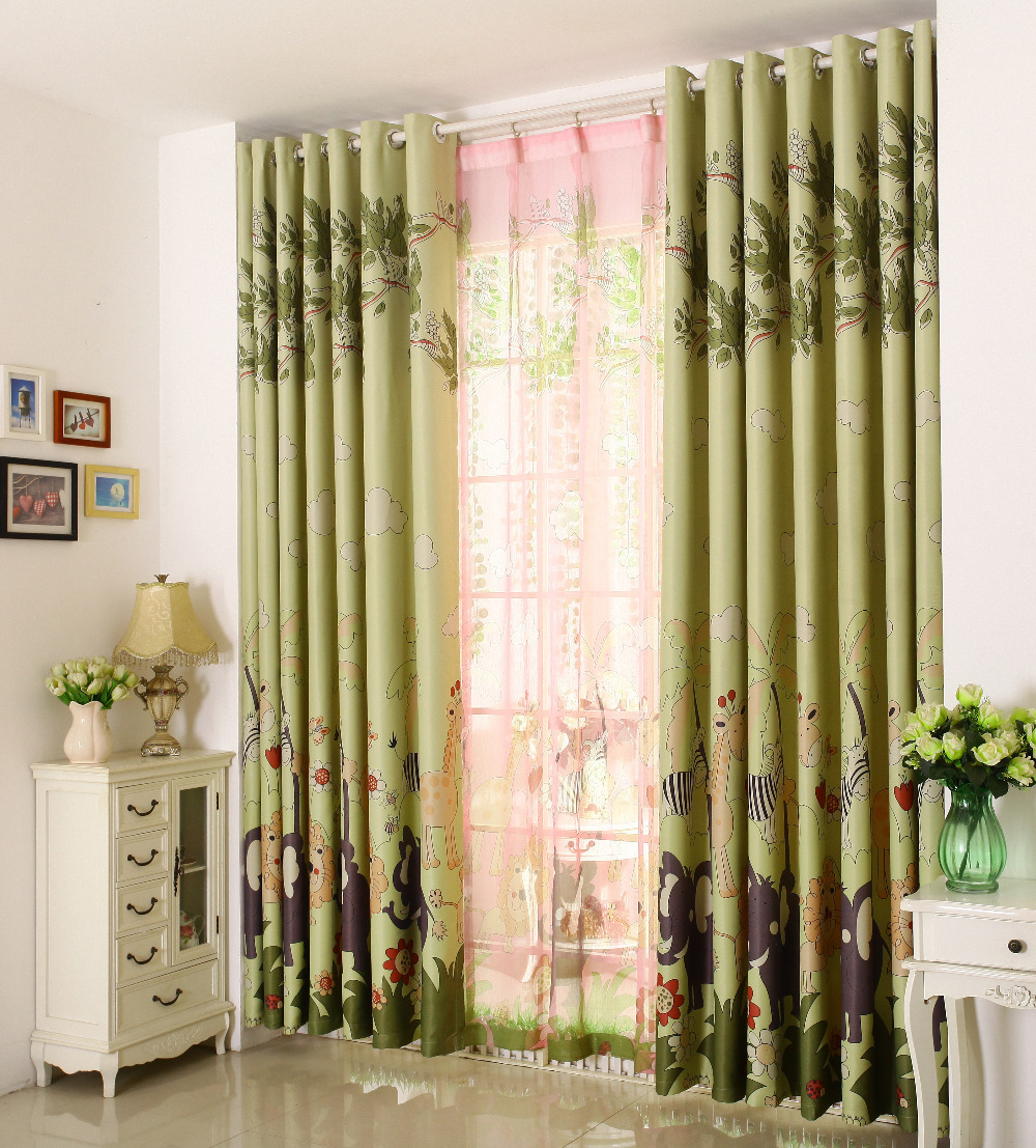 sheer curtains green lovely giraffe finished curtain sets drapes for living room bedroom curtains kid chinese